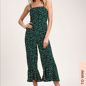 Faithfull the Brand Lea Green Floral Jumpsuit